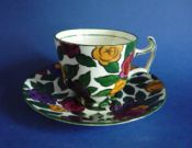 Unusual Cauldon Floral Coffee Cup and Saucer c1915 #2